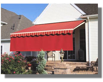 Awning with drop valance